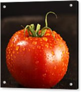 Single Fresh Tomato With Dew Drops Acrylic Print