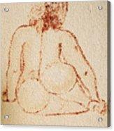 Sitting Fat Nude Woman Acrylic Print