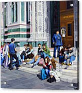 Sitting On The Steps Of The Duomo Acrylic Print