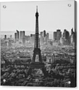 Skyline Of Paris In Black And White Acrylic Print