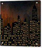 Skyscrapers - Panorama Of Modern Skyscraper Town Acrylic Print