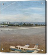 Small City Airport Plane Taking Off Acrylic Print