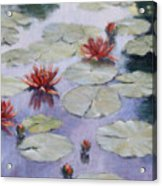 Smooth Sailing - Lilies In Monets Garden Acrylic Print