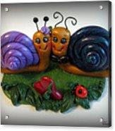 Snails In Love Acrylic Print by Trina Prenzi