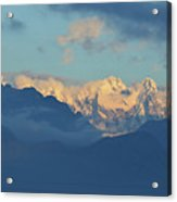 Snow Capped Dolomite Mountains In The Countryside Of Italy  Acrylic Print