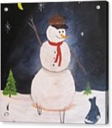 Snowman And Cat Acrylic Print