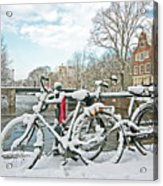 snowy Amsterdam in the Netherlands Acrylic Print