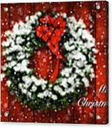 Snowy Christmas Wreath Card Acrylic Print