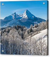 Snowy Church In The Bavarian Alps In Winter Acrylic Print
