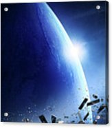Space Junk Orbiting Earth Acrylic Print