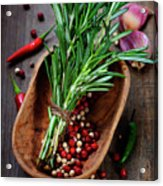 Spices On A Wooden Board Acrylic Print