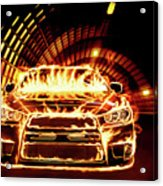 Sports Car In Flames Acrylic Print