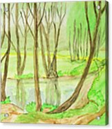 Spring Landscape, Painting Acrylic Print