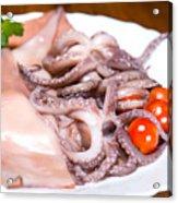 Squid Raw Cherry Tomatoes And Parsley Acrylic Print