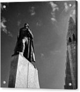 statue of explorer lief eriksson in front of Hallgrimskirkja church Reykjavik church of iceland Acrylic Print
