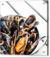Stewed Fresh Mussels In Spicy Garlic Wine Seafood Sauce Acrylic Print