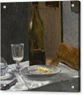 Still Life With Bottle Carafe Bread And Wine Acrylic Print