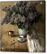 Still Life With Bouquet Of Fresh Lilacs Acrylic Print