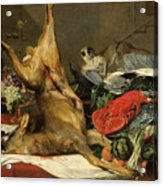 Still Life With Dead Game, A Monkey, A Parrot, And A Dog Acrylic Print