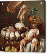Still Life With Dressed Game, Meat And Fruit Acrylic Print