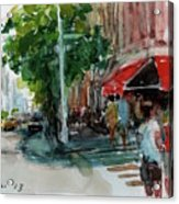 Streetscape With Red Awning - 82nd Street Market Acrylic Print