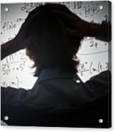Student Holding His Head Looking At Complex Math Formulas On Whiteboard Acrylic Print