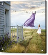 Summer Dress Blowing On Clothesline With Girl Walking Down Path Acrylic Print
