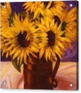 Sunflowers In A Copper Can Acrylic Print