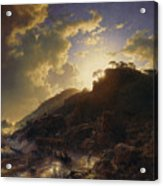 Sunset After A Storm On The Coast Of Sicily Acrylic Print