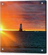 Sunset And Lighthouse Acrylic Print