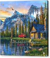 Sunset At Log Cabin Acrylic Print