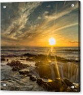 Sunset At Thor's Well Acrylic Print