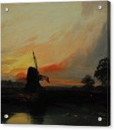 Sunset By The Windmill Acrylic Print