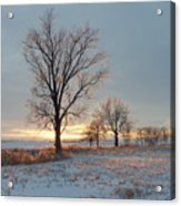 Sunset Over Icy Field Acrylic Print