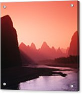 Sunset Over Li River Acrylic Print