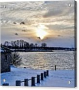 Sunset Over Obear Park In Snow Acrylic Print