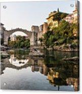 Sunset Over The Famous Mostar Bridge Acrylic Print