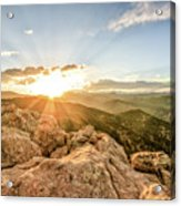 Sunset Over The Mountains Of Flaggstaff Road In Boulder, Colorad Acrylic Print