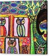 Talavera Owl Tree House Acrylic Print