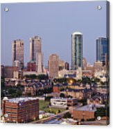 Tall Buildings In Fort Worth At Dusk Acrylic Print by Jeremy Woodhouse