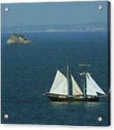 Tall Ship Passing Thatcher's Rock, Torbay Acrylic Print