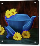 Tea Kettle With Daisies Still Life Acrylic Print