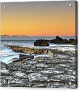 Tessellated Rock Platform And Seascape Acrylic Print