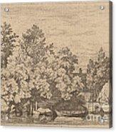 The Cudgel Dam And Covered Bridge Acrylic Print