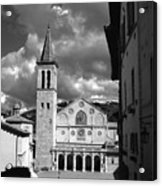 The Facade Of The Duomo With Mosaic And Eight Rose Windows And The Campanile Spoleto Umbria Italy Acrylic Print