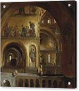 The Interior Of St Marks Basilica Venice Frederick Leighton Acrylic Print
