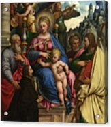 The Madonna And Child With Angels Saints And A Donor Acrylic Print