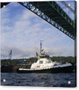 The New Tacoma Narrows Bridge - Foss Tug Acrylic Print