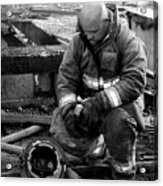 The Praying Firefighter Black And White Acrylic Print