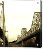 The Two Carquinez Bridges At Crockett And Vallejo California . Aka Alfred Zampa Memorial Bridge . 7d8830 Acrylic Print by Wingsdomain Art and Photography